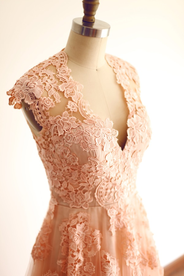 Reem acra blush lace wedding dress looks  B2B Fashion