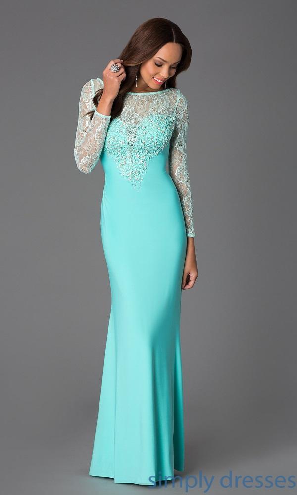 Long Sleeve Long Prom Dresses