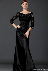 black formal dresses with sleeves 2016