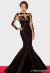 black lace mermaid prom dress with sleeves 2016-2017 | B2B ...