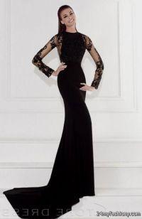 Black long sleeve prom dress 2017-2018  B2B Fashion