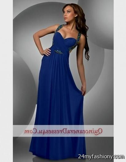 cobalt blue open back prom dress 2016