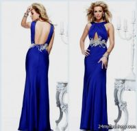 cobalt blue open back prom dress 2016
