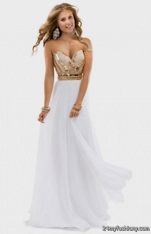 gold and white prom dresses looks  B2B Fashion