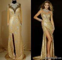 gold long sleeve prom dress 2016
