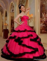 hot pink and black quinceanera dresses 2016-2017 | B2B Fashion