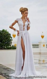 long white prom dresses with sleeves 2016-2017 | B2B Fashion