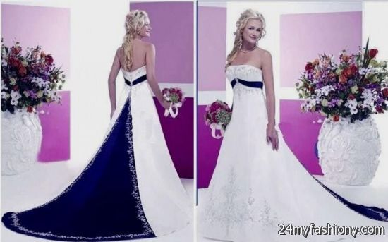 Navy Blue And White Wedding Dresses 2016-2017