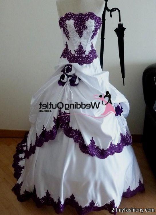 Wedding Dresses Purple And Cream