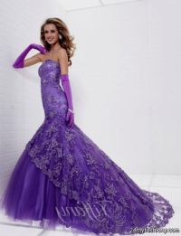 purple and white prom dresses mermaid 2016
