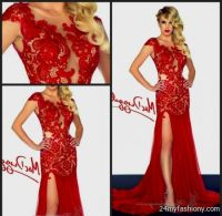 red lace prom dresses with sleeves 2016-2017   B2B Fashion