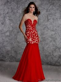 red mermaid prom dress 2016