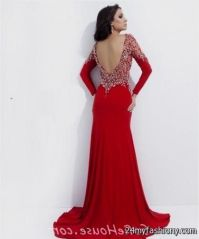 red open back long sleeve prom dress 2016-2017 | B2B Fashion