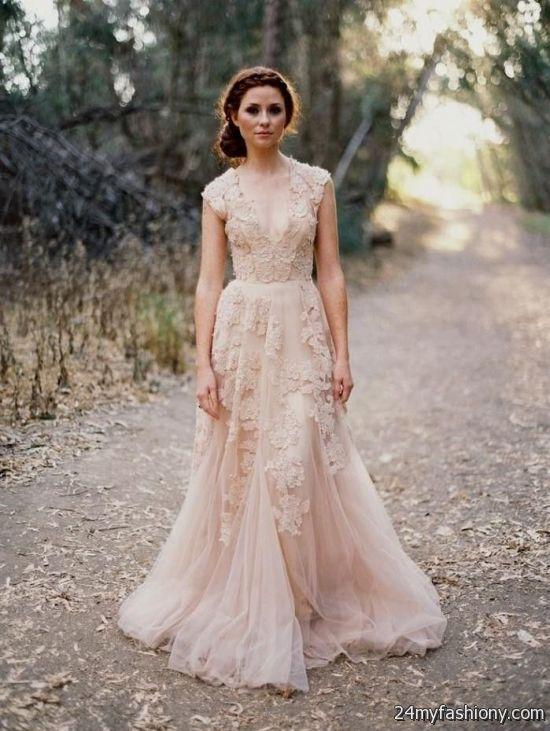Reem acra blush lace wedding dress looks  B2B Fashion