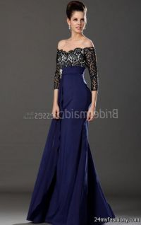 Midnight Blue Bridesmaid Dresses With Lace - Junoir ...