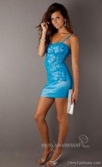 short blue prom dress with straps 2016-2017   B2B Fashion