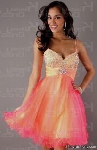 short orange prom dresses with straps 2016-2017 | B2B Fashion
