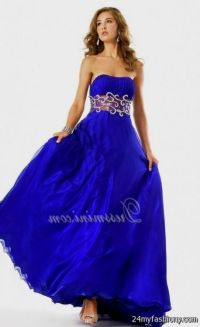 strapless cobalt blue bridesmaid dresses 2016