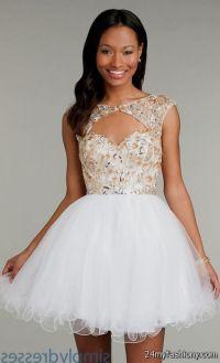 white and gold prom dresses short 2016-2017 | B2B Fashion