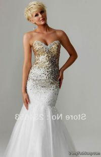White And Gold Sequin Prom Dress | www.pixshark.com ...