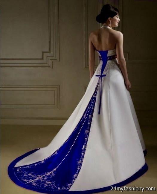 White Wedding Dress With Royal Blue Trim