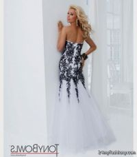 black and white lace prom dress with sleeves 2016-2017 ...