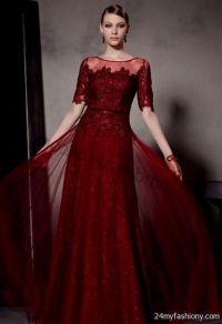dark red prom dresses with sleeves 2016-2017 | B2B Fashion