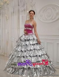 quinceanera dresses hot pink and silver 2016