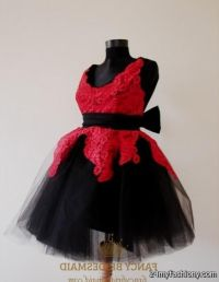 Black And Red Flower Girl Dresses