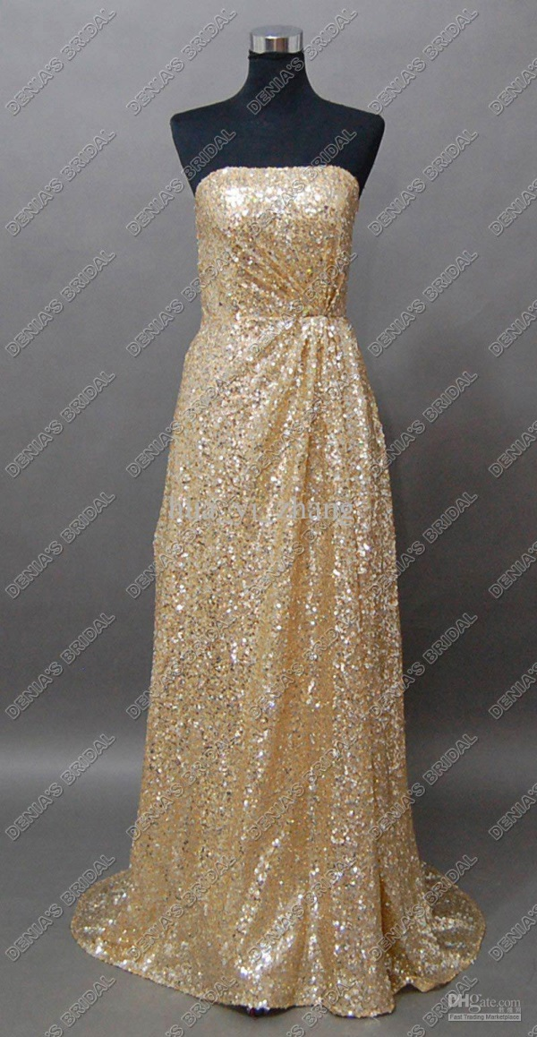 Plus Size Gold Sequin Dress 2016 2017 B2B Fashion