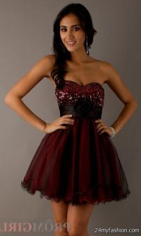 Red And Black Prom Dresses Short - Plus Size Tops