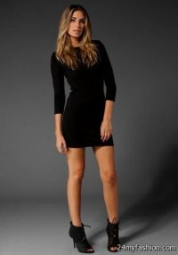 black short dress with long sleeves 2016-2017   B2B Fashion
