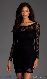 long sleeve short black dress lace 2016-2017   B2B Fashion