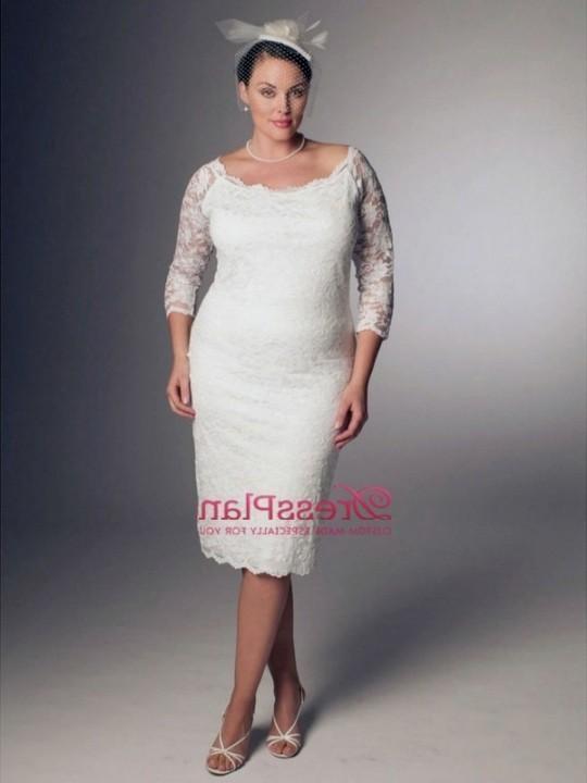 plus size wedding dress with sleeves tea length 2016