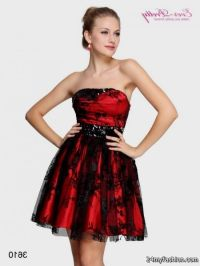 red and black cocktail dress - Dress Yp