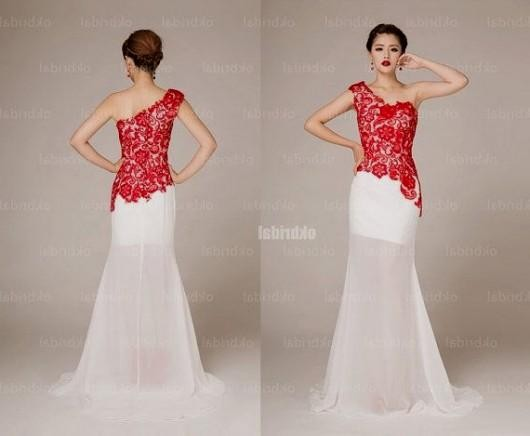 Red And White Lace Prom Dress Looks