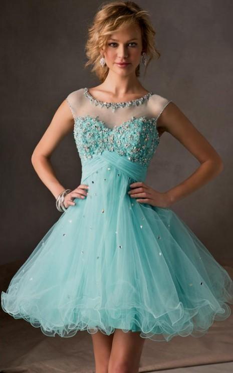 short light blue lace prom dress 2016-2017 » B2B Fashion