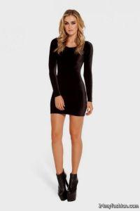 short tight black dress with long sleeves 2016-2017   B2B ...