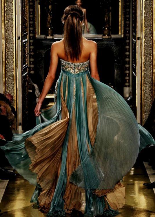 teal and gold long dress looks  B2B Fashion