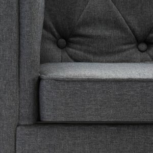 vidaXL Bankstel Chesterfield-stijl stoffen bekleding donkergrijs 2-delig