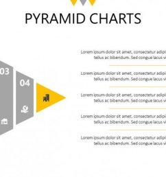 five steps pyramid chart slide with text [ 1200 x 675 Pixel ]
