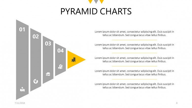 medium resolution of five steps pyramid chart slide with text