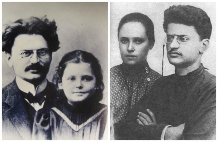 Лев Троцкий с Александрой Соколовской и дочкой