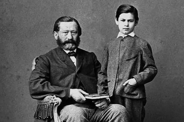 Зигмунд Фрейд в детстве с отцом