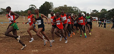 APR's Godfrey Rutayisire leading the men's 12km pack but failed to keep the pace and ended up in 22 position. Saturday Sport/Courtesy.