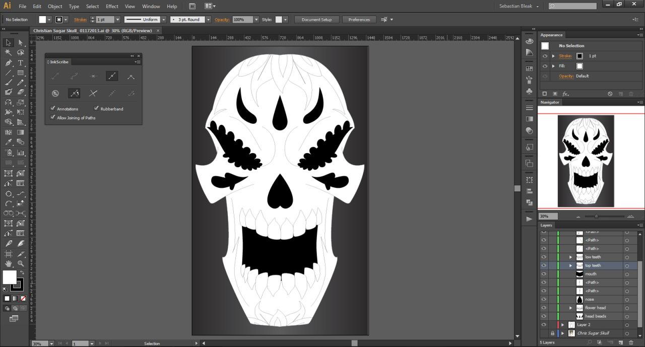 skull design flat