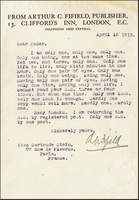 Gertrude Stein rejection letter - peoplewhowrite