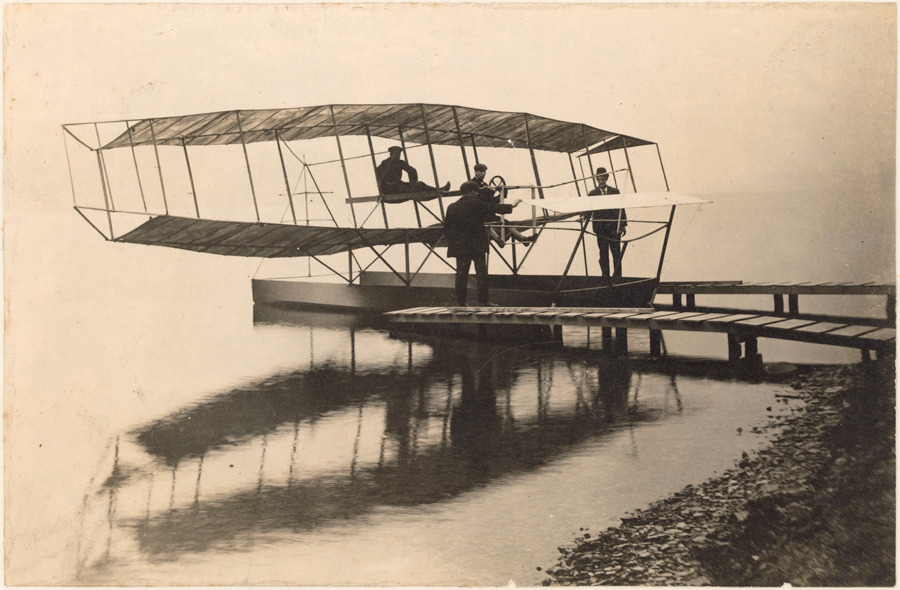 A seaplane docked at Keuka Lake near Hammondsport, New York.Photograph courtesy Alexander Graham Bell Collection
