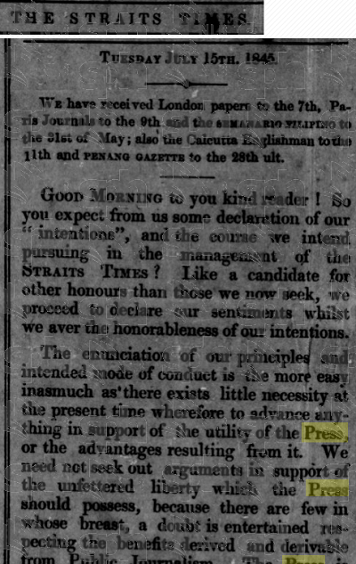 Editorial in the Straits Times' inaugural issue, July 15, 1845