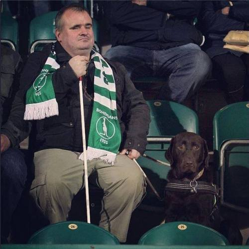 A blind fan and his dog attending a football match of his beloved club Bohemians 1905. Football unites, football knows no limitations and football brings happiness no matter who you are or where you come from. Respect the game